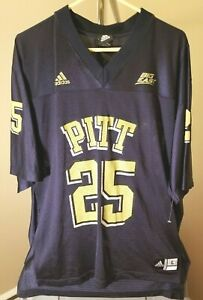 Pittsburgh Panthers NCAA Adidas Vintage Blue #25 Large Football Jersey