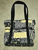 Bella Taylor Quilted Purse Eiffel Tower and Key Print Yellow/Black/White