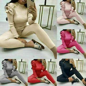 Ladies Womens Fine Ribbed Frill Peplum Button Loungewear Suit Tracksuit Set