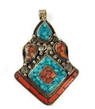 Blue Turquoise & Coral Handmade Tibetan Style Pendant 7 Cm Long Silver Overlay
