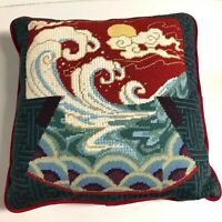 Throw Pillow Needlepoint Japanese Asian Ocean Wave Vintage 80s Square