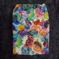 Jil Sander Pencil Skirt Size 34 Small Silk Twill Big Bright Floral Print Italy