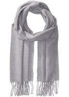 Calvin Klein Solid Fringed Cold Weather Gray Scarf $38