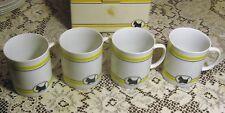 Set of 4 Dept 56 Scottie Dog Cafe Coffee Mugs Scottish Terrier Yellow Black