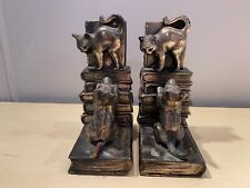 Old Vtg 1940's Bronze Fine Metal Bookends Dog Chasing Cat Climbing On Books