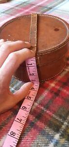 Antique Vintage Tan Leather Collar Box & Stud Box 30s 40s 50s
