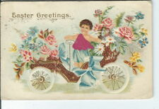 CA-003 Easter Greetings Boy in a Toga top portion is Fabric Flowers Car Postcard