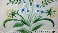 """33"""" Square Embroidered Handmade Blue Color Rosebud Flower Tablecloth Polyester"""