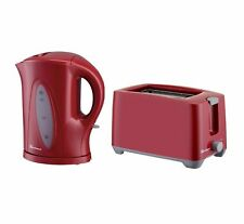 Red 1.7L Aquen Cordless Electric Kettle & 2 Two Wide Slot Slice Toaster Set