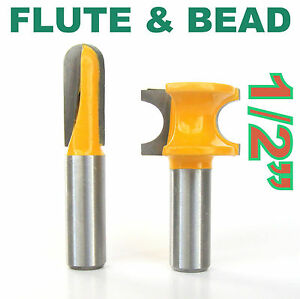 """2 pc 1/2"""" SH 1/2"""" Diameter Flute and Bead Match Joint Router Bit Set S"""