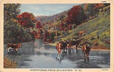 Stamford New York~Cattle Stand in Mountain Valley Stream~1933 Linen Postcard