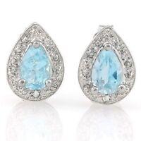 Ohrringe/Ohrstecker Jillian, 925er Silber, 1,01 Kt. echter Blautopas/Diamant