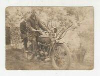 Vintage RPPC real photo postcard 2 boys on Harley Davidson motorcycle