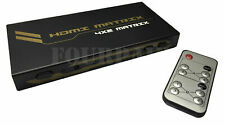 4x2 HDMI Matrix Switch Switcher Splitter Selector Remote HD 3D 1080P 4-in 2-out