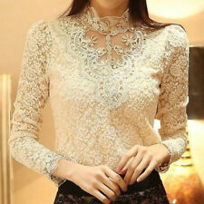 Women Lace Hollow Shirt Doll Collar Long Sleeve Frill Elegant Blouse Top New