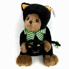 "Bearington Collection Midnight Magic Black Cat Plush 12"" Teddy Bear Halloween"