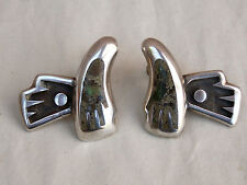 SALVADOR TERAN Vintage Mexican Sterling Silver & Stone EARRINGS Taxco