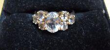 2.90 ct Aquamarine Ring, 7 Oval Cut Gemstones, 10k Yellow Gold, Size 7
