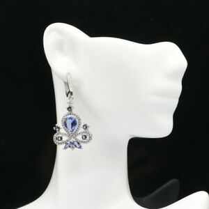 Hot Sell Iolite White Cubic Zirconia Jewelry For Woman's Silver Earrings
