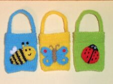 KNITTING PATTERN - Bee, Butterfly and ladybird gift bags - Great for Easter.
