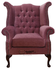 Chesterfield Armchair Queen Anne High Back Wing Chair Pimlico Plum