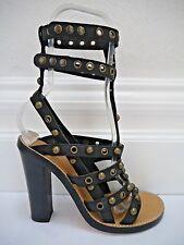 NEW ISABEL MARANT $1,250 Lucie black leather studded gladiator sandals heels 38