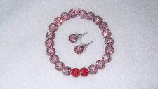 Gorgeous Bracelet Pink Red Disco Ball Stretch Jewelry Glitter Free Earrings
