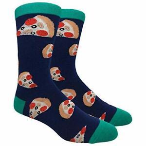 Novelty Fun Crew Print Socks for Dress or Casual (Pizza Slice Navy #31)