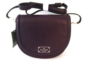 KATE SPADE OLIVER Street Lilly Leather Crossbody Saddle Bag Pebbled Purple NWT