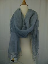 Cejon Soft Ruched Shimmer Knit Acrylic Fringe Wrap Scarf Gray #2094