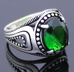 Solid 925 Sterling Silver Green Emerald Stone Men's Ring