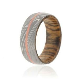 New 8mm Wide Damascus Steel Ring with 14k Solid Rose Gold Inlay Wood Sleeve