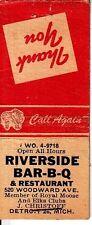 Riverside Bar-B-Q 520 Woodward Ave. Detroit Michigan MI Old Matchcover