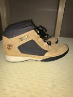 Timberland Leather Canvas Wheat Nubuck Ankle Boots Womens 7M VGUC