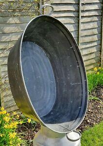 Vintage Painted Large Galvanised Garden Planter Tin Bath 77cm x 56cm