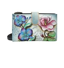"Anuschka #1113  FFY FLORAL FANTASY  Wallet/Large Smart Phone Case 7.5"" x 4."" NWT"