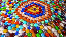 50 x Mixed Colour Round Glass Pebbles /  Nuggets / Stones