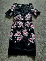 Laura Ashley gorgeous black + floral fitted 1950's style wiggle dress size 8