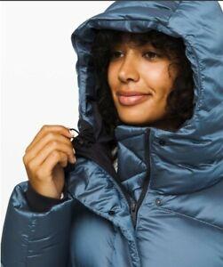 Lululemon WUNDER PUFF JACKET Cascade Blue Down 700 Fill Hoodie Coat Parka size 8