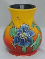 Anita Harris Blue Flowers Vase - signed in gold to base