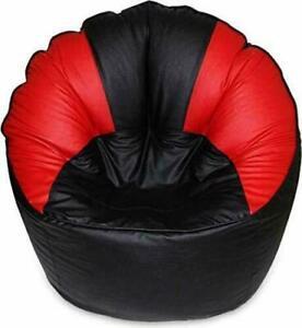 Artificial Leather Sofa Mudda Black Red Bean Bag Cover Jumbo Free Shipping