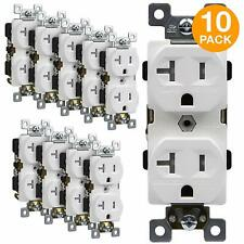 20A Commercial Grade TR Duplex Receptacle Outlet White 10 Pack