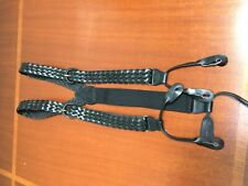 Braided Black Leather Suspenders Buckle Adjustment Leather Attachments
