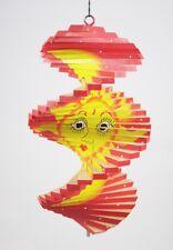 Spirale à vent en bois soleil et lune Rouge - 20x12 - Mobile - carillon