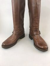 Frye US8 B UK5.5 Brown Leather Mid Calf Pull On Buckle Biker Rider Booties Boots