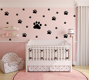 25 Paw Print Dog Vinyl Wall Car Decal Sticker Glass Dot Print Bedroom Nursery D
