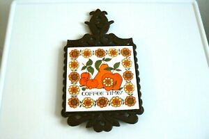 FM JAPAN MADE COFFEE TIME! PEAR, APPLE AND CHERRY TILE CAST IRON BIRDS TRIVET.