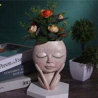 Plant Pots Human Face Vase Resin Succulents  Abstract Portrait Flower Pot Decor