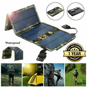 80W USB Outdoor Solar Panel Folding Power Bank Camping Hiking Phone Charger