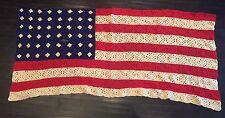 "Vintage 48 Star Crochet Yarn Handmade American Flag 66"" X 33"""